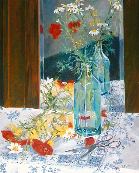 Poppies in Blue Bottle