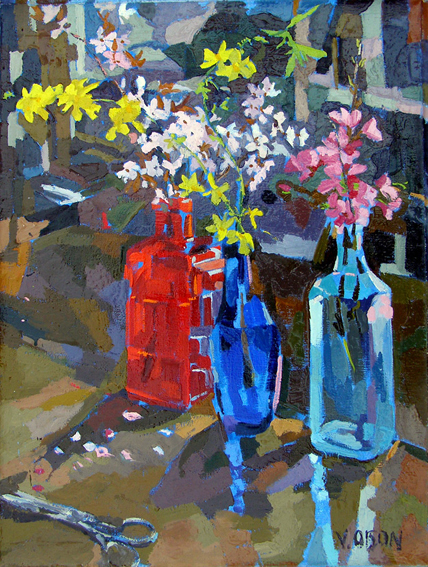 Bottles with Spring Flowers