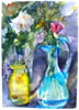Chartreuse Bottle with Blue Pitcher Vase in the Summer Light 2016