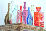 Glass Bottles on top of Antique Closet  2015