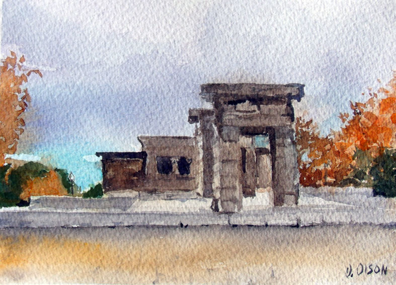El Templo de Debod Madrid, Spain – Watercolor on Arches 300 gsm – 8x 10 inch (20.3 x 25.4 cm) Swiss Clip Frameless Frame with Plexi-gass Ready to Hang