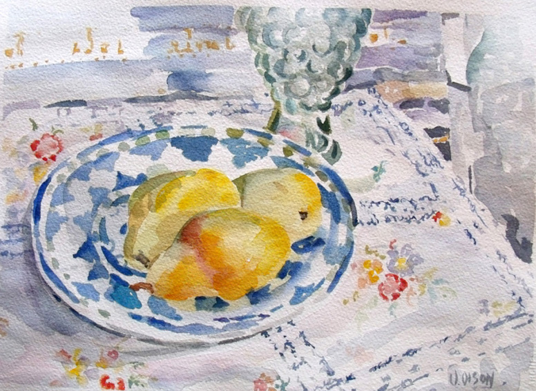 Pears on Blue Plate November 2015