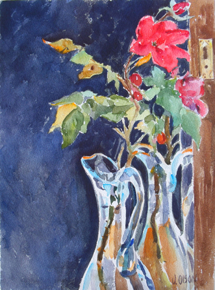 Red Roses in Blue Vase March 2015