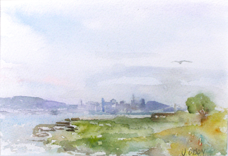 Alameda Bay View of San Francisco, California 2010 – Watercolor on Arches 300 gsm – 8x 10 inch (20.3 x 25.4 cm) Swiss Clip Frameless Frame with Plexi-gass Ready to Hang