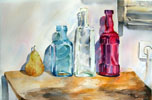Three Glass Bottles with a Pear  2014