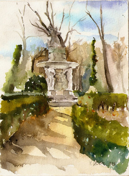 El Parque del Principe Aranjuez, Spain 1998 – Watercolor on Arches 300 gsm – 10 x 8 inch (25.4 x20.3 cm) Swiss Clip Frameless Frame with Plexi-glass Ready to Hang.